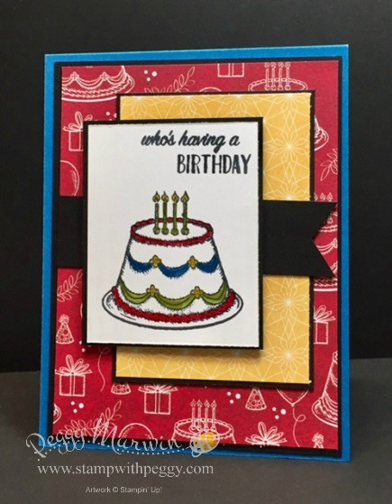 Birthday Delivery stamp set, Birthday Memories designer paper, birthday