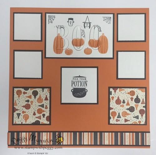 Spooky Cat Stamp Set, Patterned Pumpkin Framelits, Cat Punch, Spooky Night Designer Paper, Halloween, Scrapbook Page