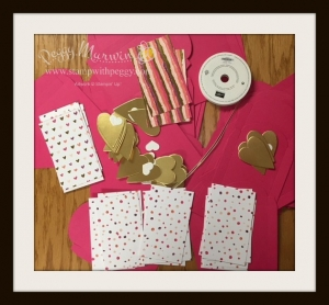 "Sure Do Love You Bundle, Painted with Love designer paper, Gold Foil Sheet, 1/8"" Gold Ribbon, Dazzling Diamond Sheets"
