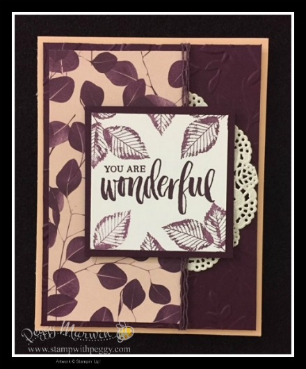Rooted in Nature Stamp Set, Nature's Poem Designer Paper, Lace Doilies, Layered Leaves Embossing Folder, On Stage
