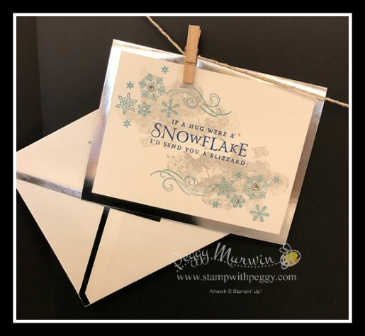 Stampin' Sister Holiday Hoopla, Beautiful Blizzard Bundle, Foil-Edged Card & Envelopes