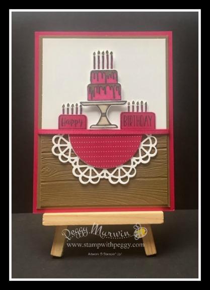 Piece of Cake Stamp Set, Cake Builder Punch, All My Love Designer Paper, Doily Builder Thinlits, Woodgrain Embossing Folder.