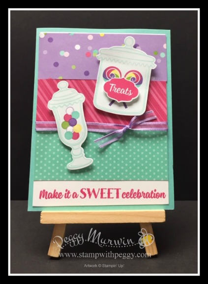 Sweetest Thing stamp set, Jar of Sweets Framelits, How Sweet It Is Designer Paper