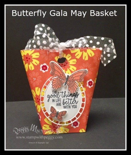 Butterfly Gala Stamp Set, Butterfly Duet Punch, Happiness Blooms Designer Paper, May Basket, Stamp with Peggy