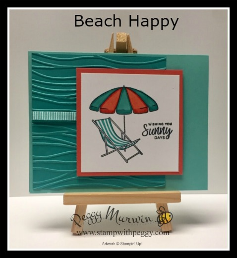 Beach Happy Stamp Set, Seaside Embossing Folder, Retiring List, Summer, Beach, Stamp with Peggy