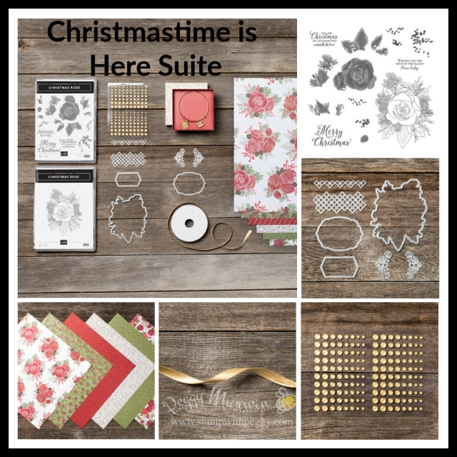 Christmastime is Here Suite, Christmas Rose Stamp Set, Roses Dies, Christmastime is Here Designer Paper, Gold Shimmer Ribbon, Gold Glitter Enamel Dots, Christmas, Stamp with Peggy