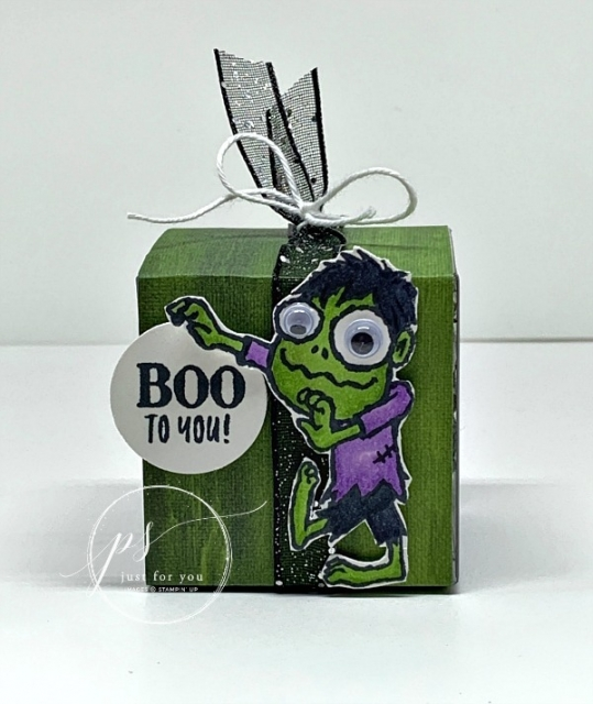 Boo to You, Clear Tiny Treat Boxes, Halloween, Frankenstein, Stamp with Peggy