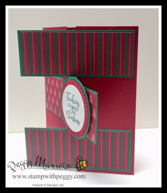 Wrapped in Plaid Suite, Perfectly Plaid Stamp Set, Wrapped in Plaid Designer Paper, Fun Fold, Triple Panel Gate Card, Christmas, Stamp with Peggy