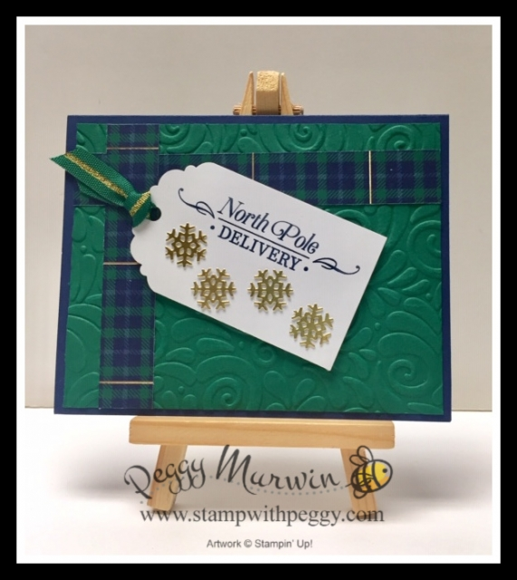 Wrapped in Plaid Designer Paper, Perfectly Plaid Stamp Set, Swirls & Curls Embossing Folder, Trio of Tags Dies, Christmas, Stamp with Peggy