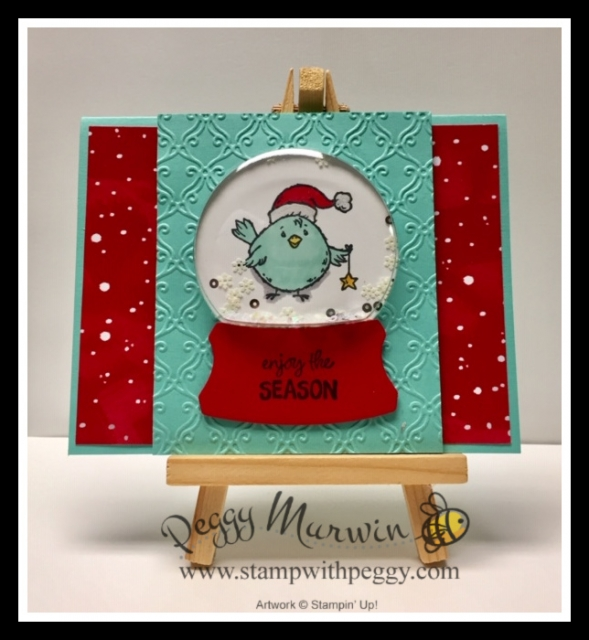 Birds of a Feather Stamp Set, Let It Snow Designer Paper, Snow Globe Shaker Domes, Christmas, Stamp with Peggy