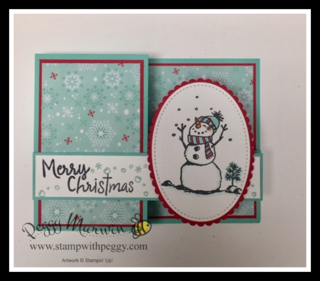 Snowman Season Stamp Set, Let It Snow Designer Paper, Double Z Fold, Christmas, Stamp with Peggy