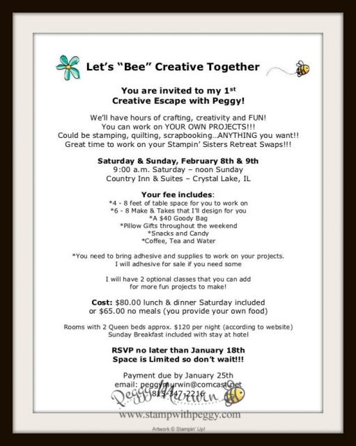 "Let's ""BEE"" Together, Creative Escape with Peggy, Scrapbook, Crop, Stamp with Peggy"
