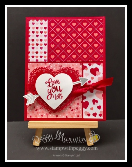 """From My Heart Suite, Heartfelt Stamp Set, Heart Punch Pack, From My Heart Designer Paper, Real Red 3/8"""" Double Stitched Satin Ribbon, Valentine's Day, Stamp with Peggy"""