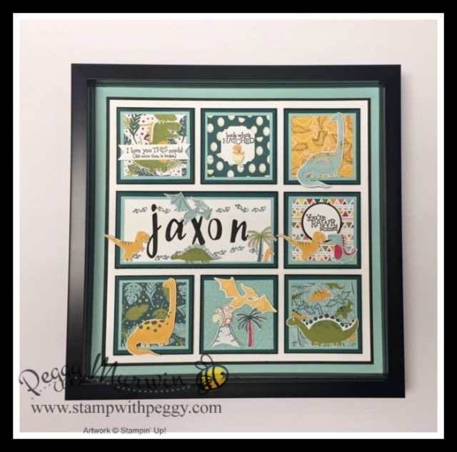 Dino Days Stamp Set, Dino Dies, Dinoroar Designer Paper, Hand-Lettered Prose Dies, Framed Art, Collage, Stamp with Peggy