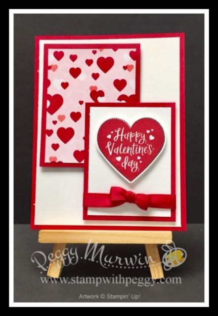 "Heartfelt Stamp Set, From My Heart Designer Paper, Real Red 3/8"" Double Stitched Satin Ribbon, Valentine's Day, Love, Stamp with Peggy"