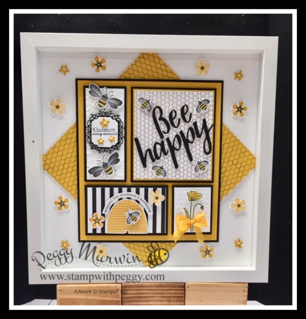 Honey Bee Bundle, Honey Bee Stamp Set, Detailed Bees Dies, Honey Bee Designer Paper, Sale-a-Bration, Framed Art, Collage, Sampler, Creative Escape with Peggy, Stamp with Peggy