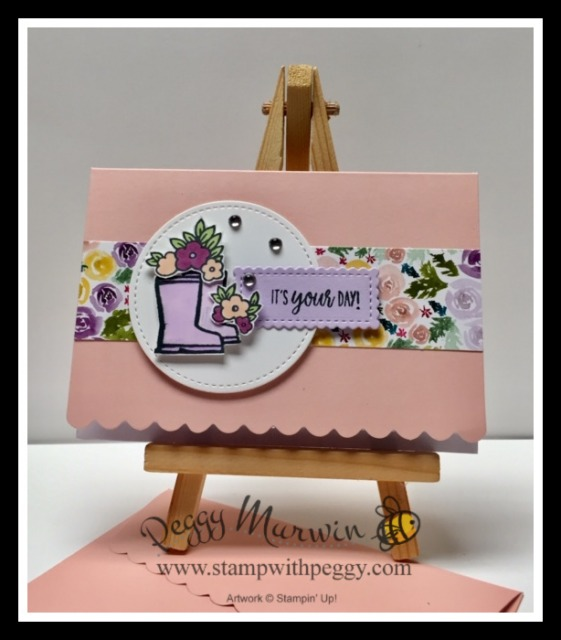Under My Umbrella Stamp Set, Umbrella Builder Punch, Scalloped Note Cards & Envelopes Pack, Best Dressed Designer Paper, All Occasion, Creative Escape with Peggy, Stamp with Peggy