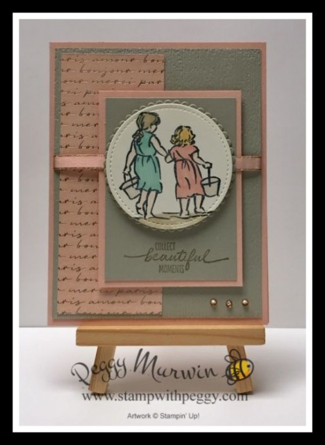 """Beautiful Moments Stamp Set, Parisian Blossoms Specialty Designer Paper, Champagne Rhinestone Basic Jewels, Petal Pink 1/4"""" Metallic Edge Ribbon, Subtle Embossing Folder, Stamp with Peggy"""