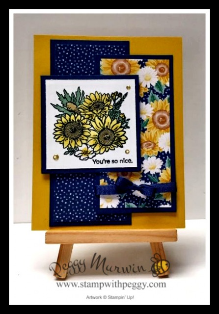 "Jar of Flowers Stamp Set, Bumble Bee, Misty Moonlight, Flowers or Every Season Designer Paper, Misty Moonlight 1/4"" Ribbon, 2020-2021 Annual Catalog, Stamp with Peggy"