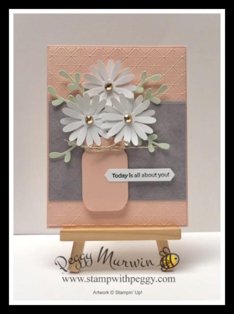 Jar Punch, Many Mates Stamp Set, Medium Daisy Punch, Peony Garden Designer Paper, Dainty Diamonds 3D Embossing Folder, Stamp with Peggy